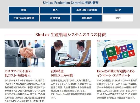東南アジア進出企業に特化した生産管理システム 【製品名】SimLex